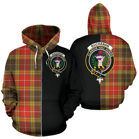 (Custom your text) Buchanan Old Set Weathered Tartan Hoodie Half Of Me TH8