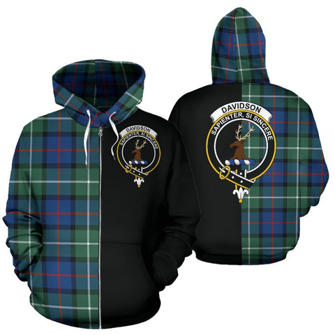 (Custom your text) Davidson of Tulloch Tartan Hoodie Half Of Me TH8