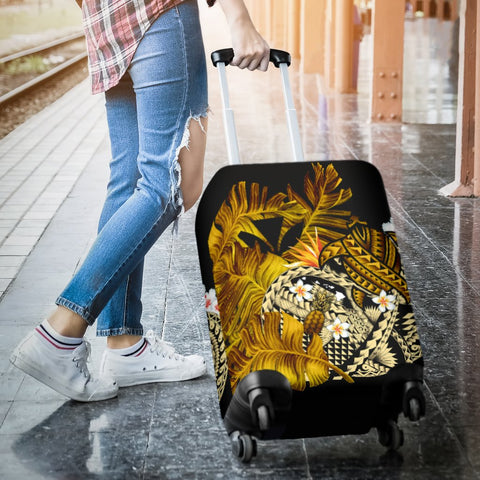 Kanaka Maoli (Hawaiian) Luggage Covers, Polynesian Pineapple Banana Leaves Turtle Tattoo Yellow