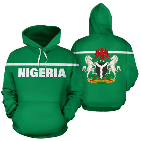 Nigeria All Over Hoodie - Horizontal Style