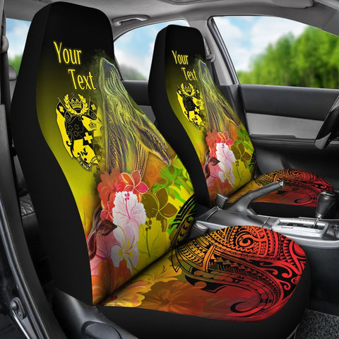 Tonga Custom Personalised Car Seat Covers - Humpback Whale with Tropical Flowers (Yellow)