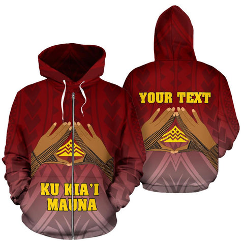 Hawaii Mauna Kea All Over Custom Personalised Zip-Up Hoodie - Hand Sign Symbol - BN12