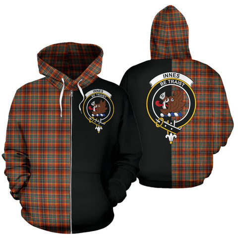 (Custom your text) Innes Ancient Tartan Hoodie Half Of Me TH8