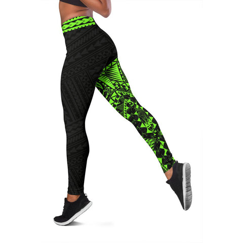 Polynesian Leggings Turtle Tattoo Green A62