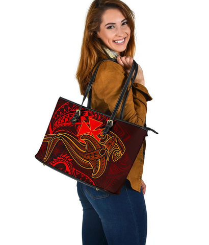 Image of Wallis and Futuna  Large Leather Tote Bag - Red Shark Tattoo
