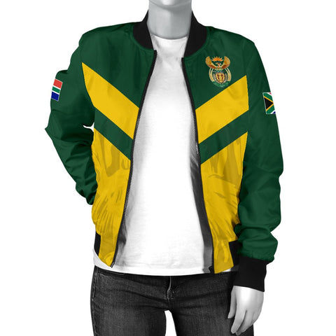 Image of 1stTheWorld South Africa Bomber Jacket - South African Rising King Protea Women Yellow A10