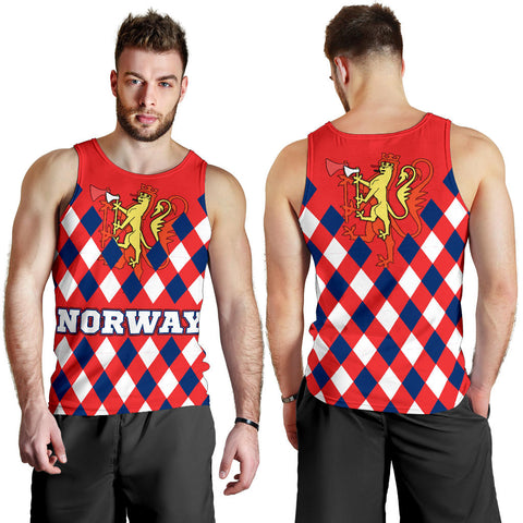 Norway Men's Tank Top - Norway Lion with Flag Color