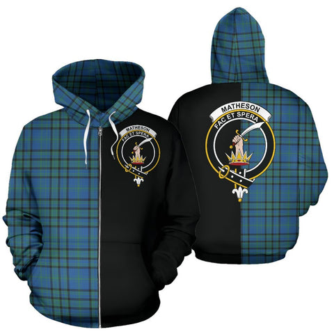 (Custom your text) Matheson Hunting Ancient Tartan Hoodie Half Of Me TH8