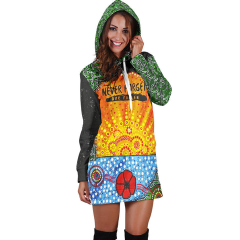 Aboriginal Australian Anzac Day Hoodie Dress - Lest We Forget Poppy 3