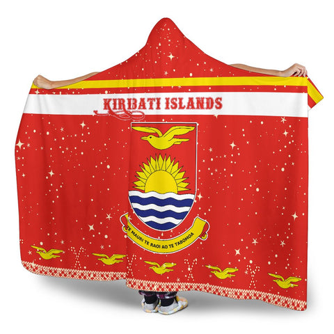 Kiribati Coat Of Arms Hooded Blanket - Red - Christmas Style