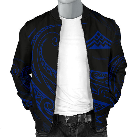 Image of Mauna Kea Polynesian Men's Bomber Jacket - Blue - Frida Style - AH J9