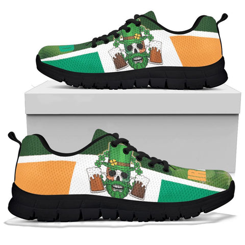 Happy St. Patrick's Day 2021 Sneakers - Ireland Flag With Irish Skull - BN21