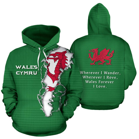 Wales Forever Hoodie - Front and Back for Men and Womens