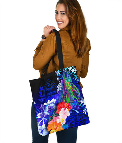 Guam Tote Bags- Humpback Whale with Tropical Flowers (Blue)