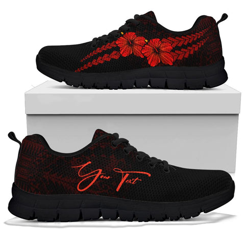 Image of (Custom) Polynesian Sneakers Hibiscus Personal Signature Red