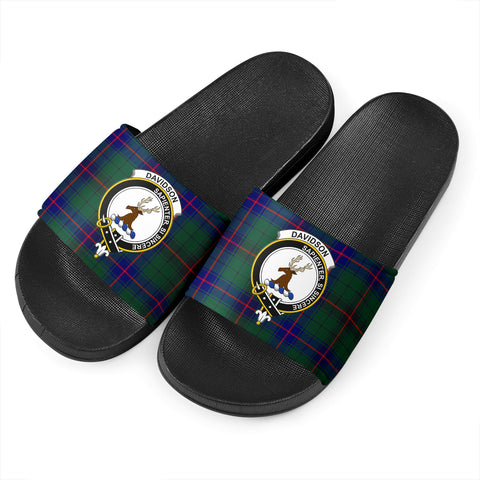 Tartan Slide Sandals - Davidson Clans - Black Version