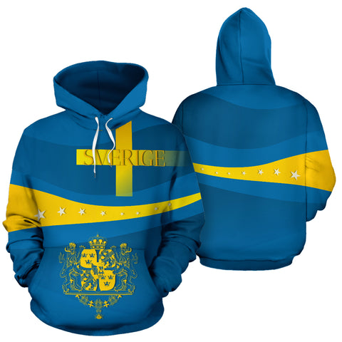 Sverige Wavy Line x Coat of Arms Sweden Hoodie with Blue mix Yellow color - Front and Back - For Men and Women