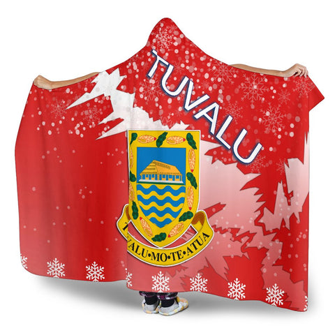 Tuvalu Coat Of Arms Hooded Blanket - Red - X Style - J82