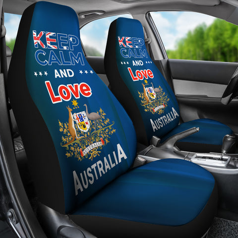 Image of Keep Calm And Love Australia Car Seat Covers Version Blue NN2