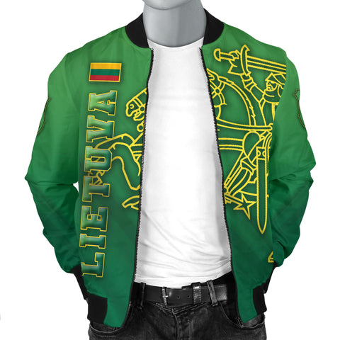 Image of Lithuania Vytis Columns of Gediminas Men Bomber Jacket K8