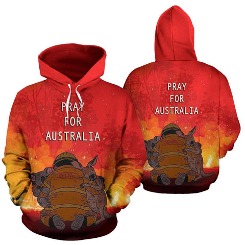 Pray for Australia Hoodie Koala Kangaroo Volunteer Fire front and back | 1sttheworld.com