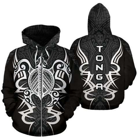 Tonga Turtle Polynesian Gray Zip Up Hoodie - Armor Style J9