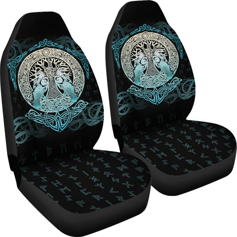 Viking Car Seat Covers Yggdrasil and Ravens A7
