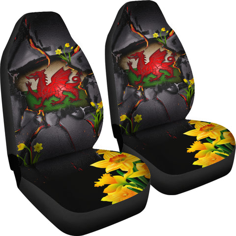 Wales Car Seat Covers - Welsh Dragon Daffodil Lava | Love The World
