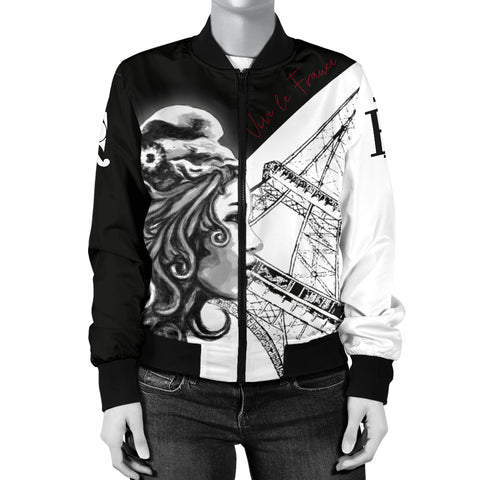 Image of France National Day Women's Bomber Jacket - Vive la France - Marianne Eiffel