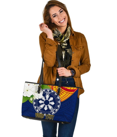 The Philippines Personalised Large Leather Tote Bag - Filipino  Sampaguita
