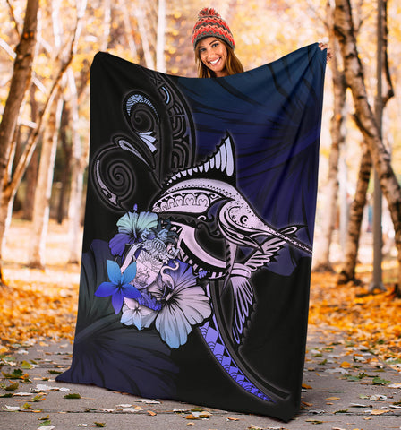 The Bahamas Premium Blanket - Purple Blue Marlin and Hibiscus A18