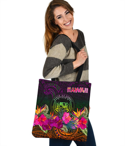 Polynesian Hawaii Tote Bags - Summer Hibiscus