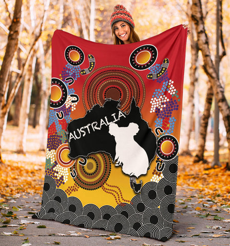 Australia Aboriginal Premium Blanket With Map TH4
