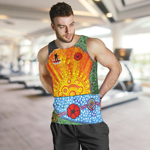 Image of Aboriginal Australian Anzac Day Men Tank Top - Lest We Forget Poppy 4