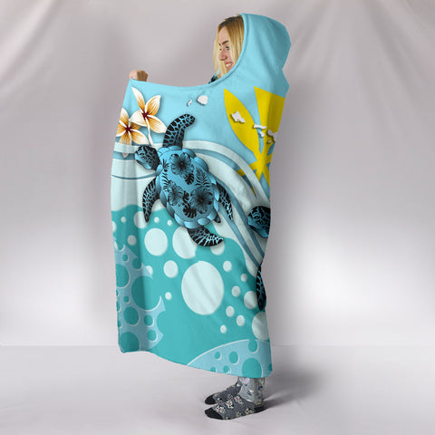 Hawaii Hooded Blanket - Blue Turtle Hibiscus A24
