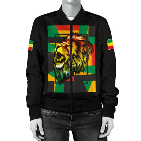 1stTheWorld Ethiopia Bomber Jacket, Ethiopia Lion Abstrato Women Black A10