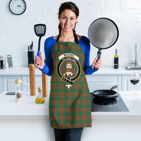 Image of Menzies Green Ancient Tartan Clan Crest Apron HJ4