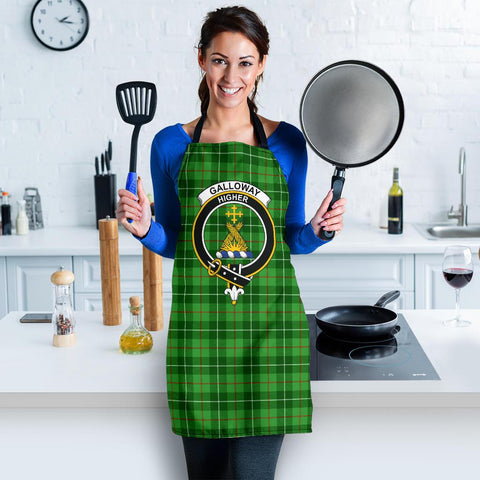Image of Galloway District Tartan Clan Crest Apron HJ4