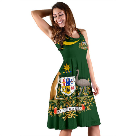 Image of 1stTheWorld Australia Women's Dress, Australia Coat Of Arms Green A10