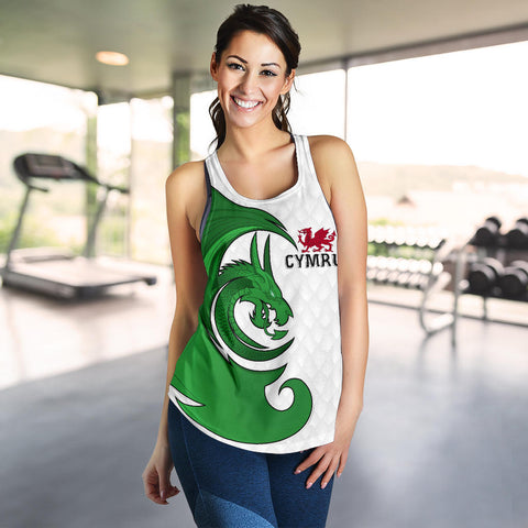Welsh Racerback Tank - Welsh Myth Dragon Green (Women) | Love The World
