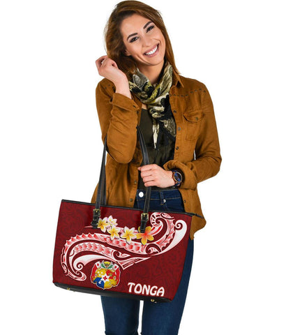 Tonga Leather Tote - Tonga Coat Of Arms With Polynesian Patterns