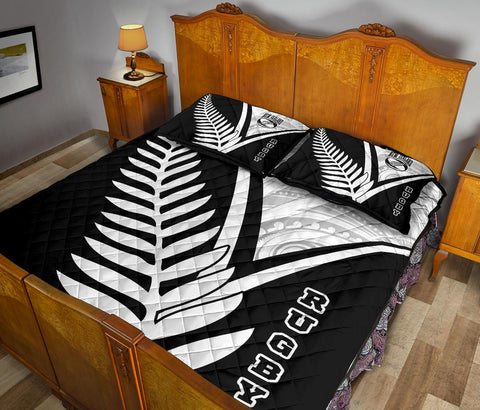 New Zealand Rugby Quilt Bed Set - New Zealand Fern & Maori Patterns