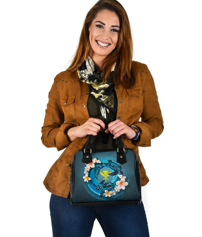 Image of Kanaka Maoli (Hawaiian) Shoulder Handbag - Blue Plumeria Animal Tattoo A24