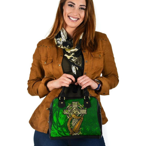 Ireland Celtic Shoulder Handbag  - Ireland Coat Of Arms with Shamrock Patterns