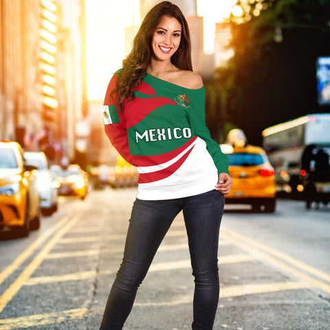 Image of Mexico Women Off Shoulder Sweater Proud Version K4