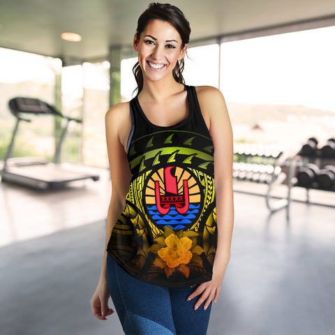 Image of Tahiti Reggae Hibiscus Women's Racerback Tank | Love The World