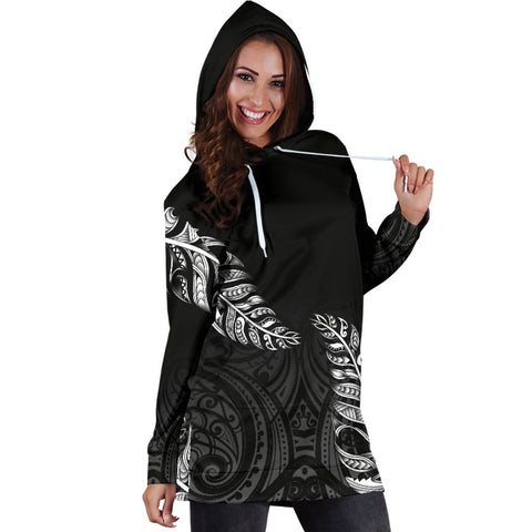 1stTheWorld Custom Aotearoa New Zealand - Maori Silver Fern Hoodie Dress Black A10