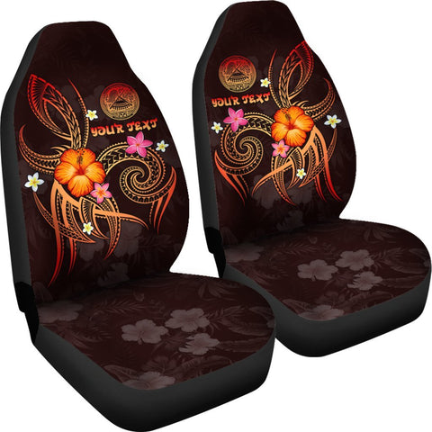 Image of American Samoa Polynesian Personalised Car Seat Covers - Legend of American Samoa (Red)