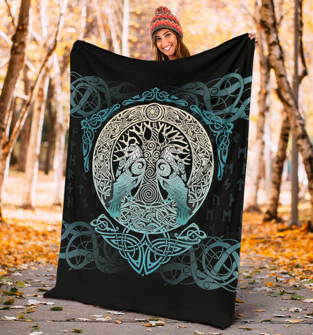 Viking Blanket Yggdrasil and Ravens A7