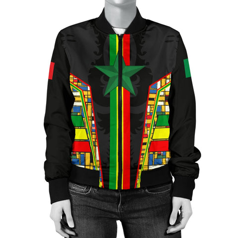 1sttheworld Senegal Women's Bomber Jacket - Senegal Flag Color And Coat Of Arm - BN17